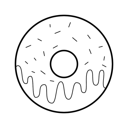 sweet donut dessert bakery food vector illustration Çizim