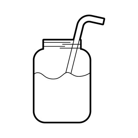 glazen pot sap met strodrank vers vector illustratie Stock Illustratie