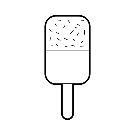 ice cream covered with chocolate on wooden stick vector illustration