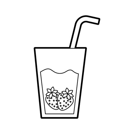 glass cup juice strawberry fruit and straw vector illustration