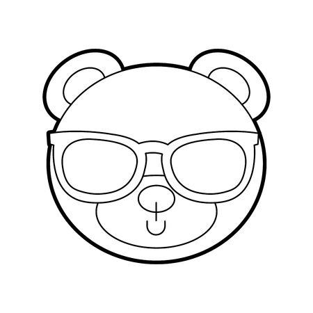 cute bear with sunglasses teddy face toy gift vector illustration