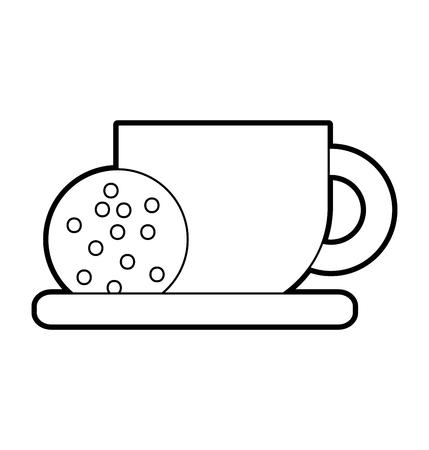 Koffiekopje en koekje in schotel voedsel vectorillustratie Stock Illustratie