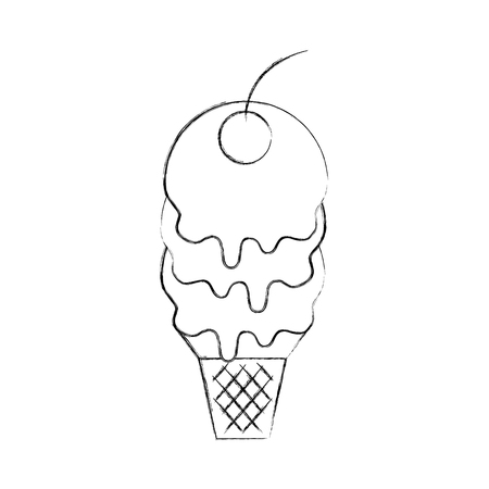 fresh tasty ice cream ball cone with one cherry waffle cup vector illustration Çizim