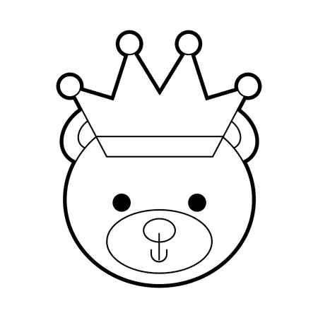 cute bear with crown teddy face toy gift vector illustration Stock Vector - 86490581