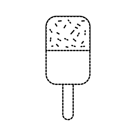 ice cream covered with chocolate on wooden stick vector illustration Imagens - 86490595