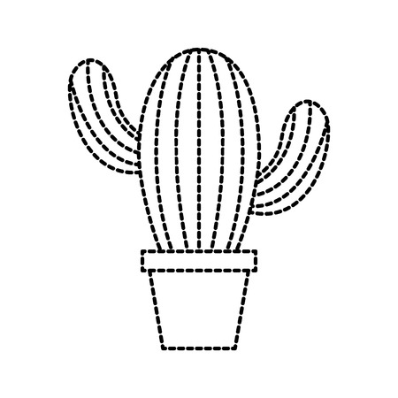cute potted cactus flora decoration natural vector illustration Ilustrace