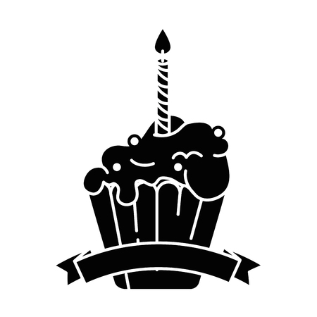 delicious cupcake with candle vector illustration design