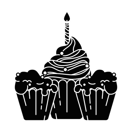 delicious cupcakes with candle vector illustration design Illustration