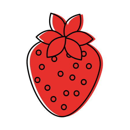delicious strawberry fruit harvest organic vector illustration Çizim