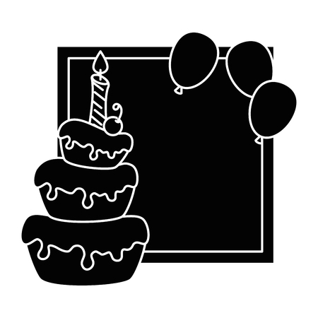 delicious cake with candle and balloons air vector illustration design Illustration