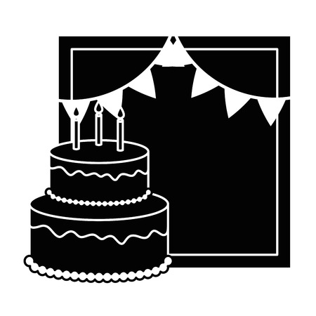 delicious cake with candle and garlands vector illustration design Illustration