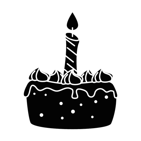 delicious cake with candle vector illustration design Stock Vector - 86490619