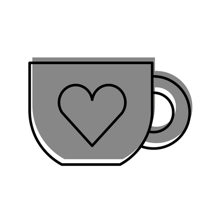 cute coffee cup heart handle hot drink vector illustration