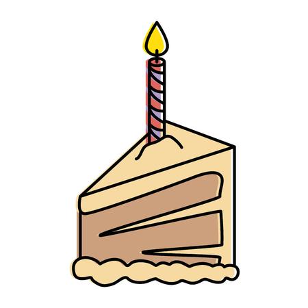Portion de gâteau délicieux avec bougie vector illustration design Banque d'images - 86490633
