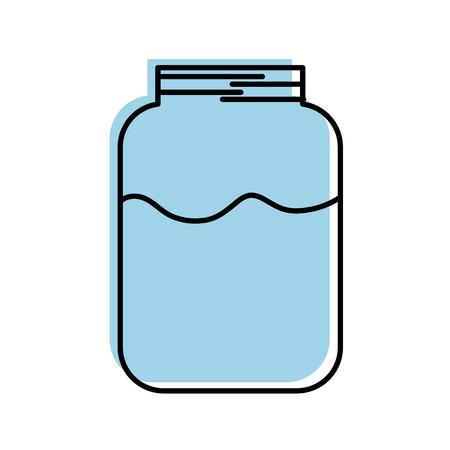 glass jar with milk drink health delicious vector illustration Illustration