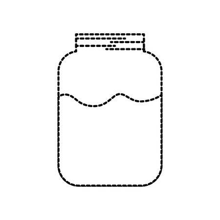 glass jar with milk drink health delicious vector illustration Ilustracja