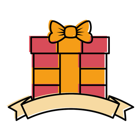 gift box present with ribbon vector illustration design Illustration