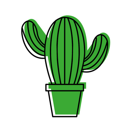 cute potted cactus flora decoration natural vector illustration Illustration