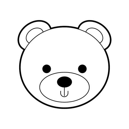 cute bear teddy face toy gift vector illustration