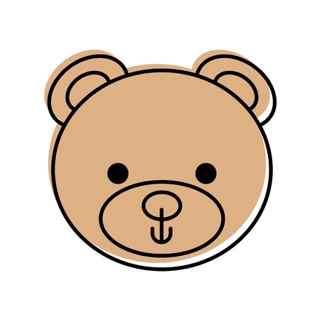 cute bear teddy face toy gift vector illustration