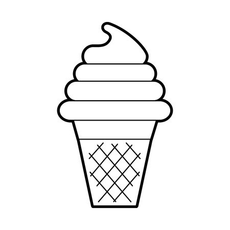 fresh tasty ice cream ball cone with waffle cup vector illustration