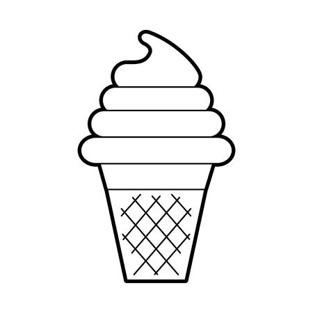Frais savoureux cornet de crème glacée à la crème avec gaufre tasse illustration vectorielle Banque d'images - 86490723
