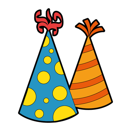 party hats decorative icon vector illustration design