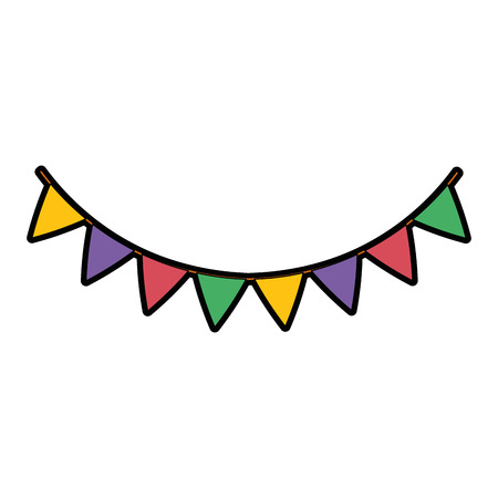 garlands hanging party decoration vector illustration design