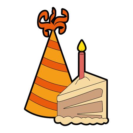 Délicieux façade de gâteau avec bougie et le chapeau illustration vectorielle design Banque d'images - 86490796