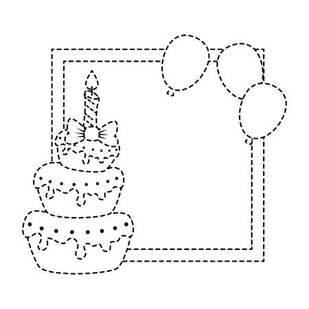 delicious cake with candle and balloons air vector illustration design Illusztráció