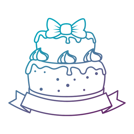 delicious cake with ribbon vector illustration design Illusztráció