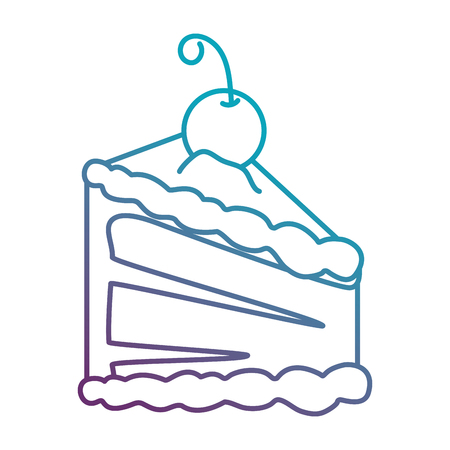 delicious cake portion with cherry vector illustration design Illustration