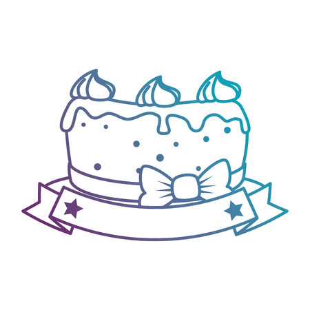 delicious cake with ribbon vector illustration design Illustration