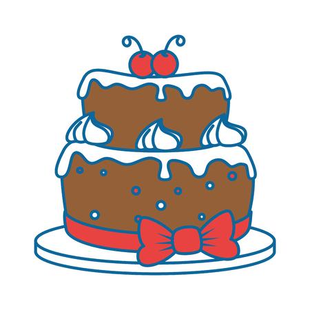 delicious cake with cherry vector illustration design Illusztráció