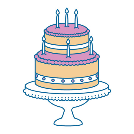 delicious cake with candle vector illustration design Imagens - 86490892