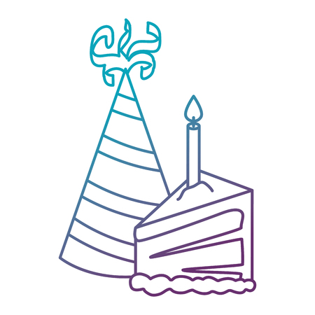 delicious cake portion with candle and hat vector illustration design