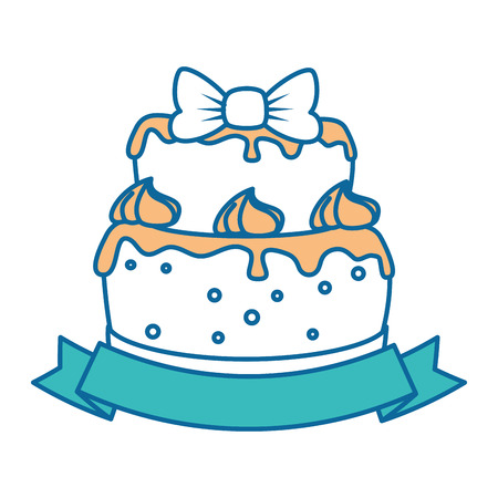 delicious cake with ribbon vector illustration design Illustration