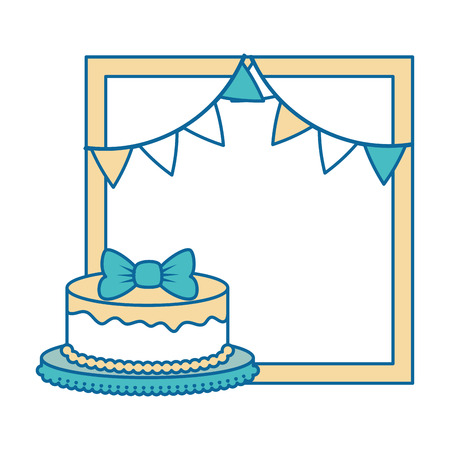 delicious cake with garlands vector illustration design