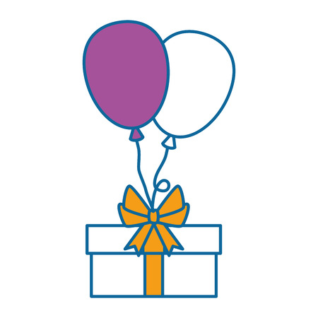 gift box present with balloons air vector illustration design 向量圖像