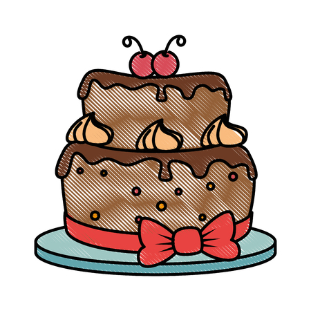 delicious cake with cherry vector illustration design Ilustrace