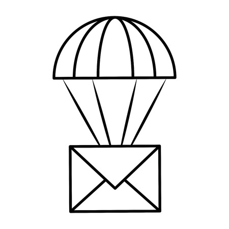 parachute with envelope mail isolated icon vector illustration design