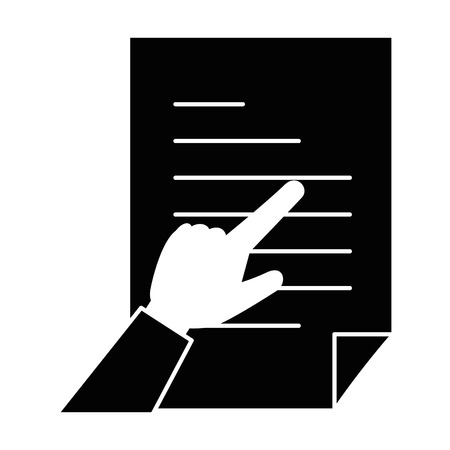 hand human with document paper isolated icon vector illustration design