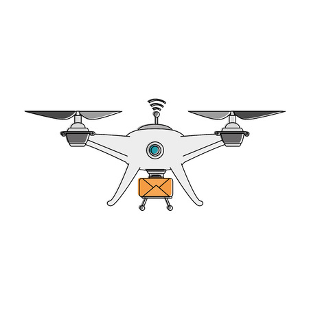 drone flying technology with envelope vector illustration design