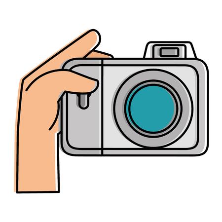 カメラ写真分離アイコン ベクトル イラスト デザインを持つユーザーを手します。