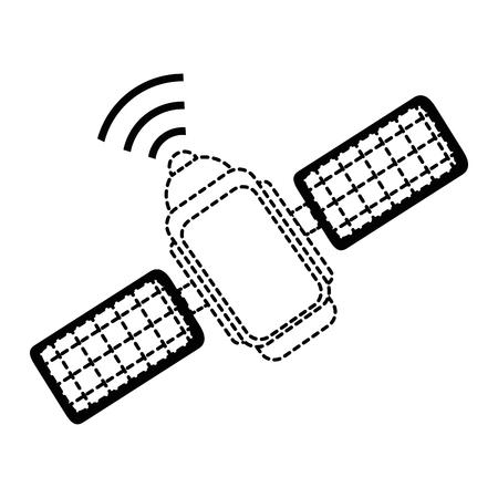 ruimtelijke satelliet geïsoleerd pictogram vector illustratie ontwerp Stock Illustratie