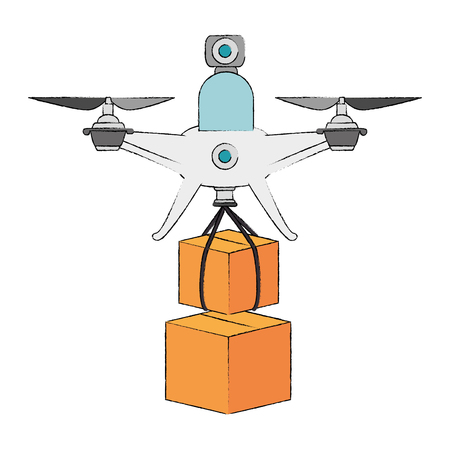 Quadcopter flying technology with boxes illustration design Illustration