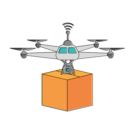 drone flying technology with box vector illustration design