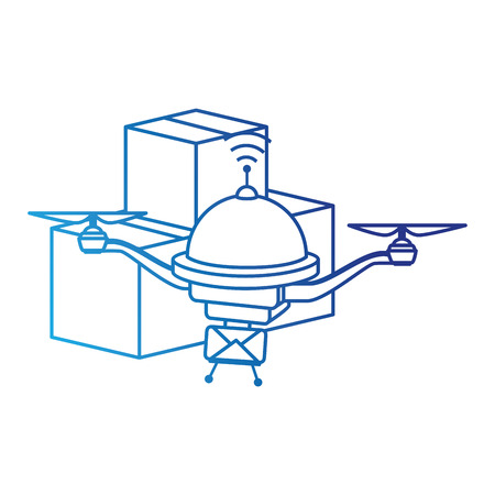 drone flying technology with boxes illustration design