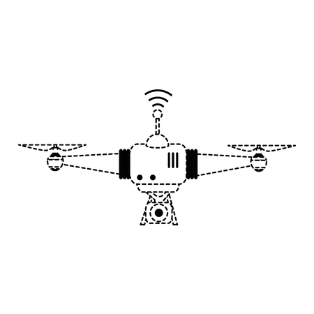 drone flying technology with camera vector illustration design Çizim