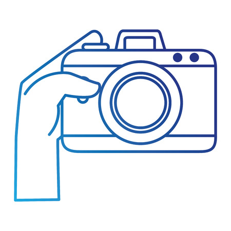 Hand user with camera photographic isolated icon illustration design